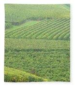 Vineyards Near St Emilion In The Mist Fleece Blanket