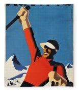 Vintage Austrian Skiing Travel Poster Fleece Blanket