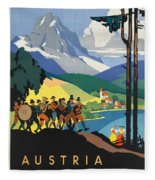 Vintage Austrian Travel Poster Fleece Blanket