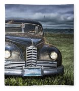 Vintage Auto On The Prairie Fleece Blanket