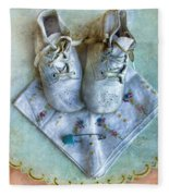 Vintage Baby Shoes And Diaper Pin On Handkercheif Fleece Blanket