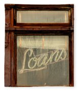 Vintage Bank Sign Fleece Blanket