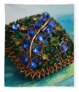 Vintage Blue And Green Rhinestone Brooch On Watercolor Fleece Blanket