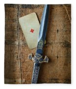 Vintage Dagger On Wood Table With Playing Card Fleece Blanket