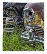 Vintage Frazer Auto Wreck Front Ends Fleece Blanket