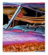 Vintage Frazer Front Window Auto Wreck Fleece Blanket
