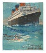 Vintage French Line Travel Poster Fleece Blanket