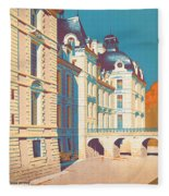 Vintage French Travel Poster Fleece Blanket