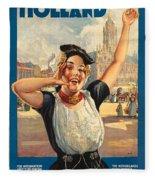Vintage Holland Travel Poster Fleece Blanket