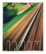 Vintage Japanese Government Railways Poster Fleece Blanket