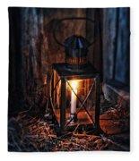 Vintage Lantern In A Barn Fleece Blanket