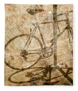 Vintage Looking Bicycle On Brick Pavement Fleece Blanket