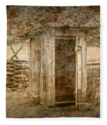 Vintage Looking Old Outhouse In The Great Smokey Mountains Fleece Blanket