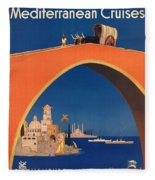 Vintage Mediterranean Travel Poster Fleece Blanket