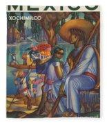 Vintage Mexico Travel Poster Fleece Blanket