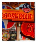 Vintage Neon Sign Oldsmobile Fleece Blanket