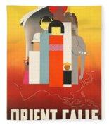 Vintage Oriental Tourist Conference Poster Fleece Blanket