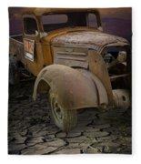 Vintage Pickup On Parched Earth Fleece Blanket
