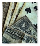 Vintage Playing Cards And Cash Fleece Blanket