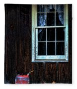 Vintage Porch Window And Gas Can Fleece Blanket