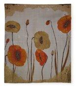 Vintage Red Poppies Painting Fleece Blanket