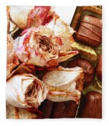 Vintage Roses And Chocolates Painterly Fleece Blanket