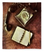 Vintage Telephone And Notebook. Fleece Blanket
