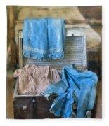 Vintage Trunk With Ladies Clothing Fleece Blanket