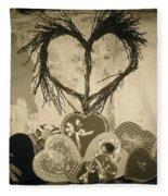 Vintage Valentine  Fleece Blanket