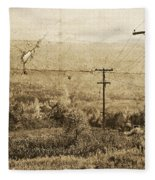 Vintage View Of Ontario Fields Fleece Blanket
