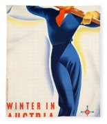 Vintage Winter In Austria Travel Poster Fleece Blanket