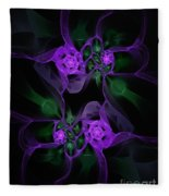 Violet Floral Edgy Abstract Fleece Blanket
