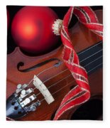 Violin And Red Ornaments Fleece Blanket