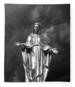 Virgin Mary And The Thunderstorm Bw Fleece Blanket
