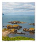 Volcanic Rock Formations In Ballintoy Bay Fleece Blanket