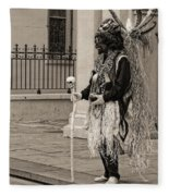 Voodoo Man In Jackson Square New Orleans- Sepia Fleece Blanket