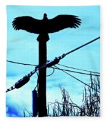 Vulture On Phone Pole Fleece Blanket