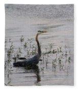 Wading Blue Heron - Ardea Herodias Fleece Blanket