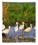 Wading Ibises Fleece Blanket