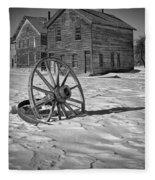 Wagon Wheel In Winter Fleece Blanket