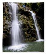 Waikani Falls And Pond Fleece Blanket