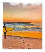 Waiting For Waves Fleece Blanket