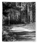 Walking In The Springtime Woods In Black And White Fleece Blanket