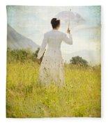 Walking On The Meadow Fleece Blanket