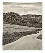 Wandering In West Virginia Sepia Fleece Blanket