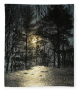 Warmth Above Icy Reflections Fleece Blanket