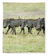 Warthogs In Masai Fleece Blanket