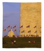 Washington Dc Sunset Fleece Blanket