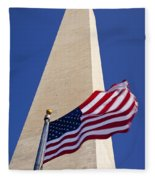 Washington Monument Flag Fleece Blanket