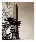 Washington Monument In Sepia Fleece Blanket